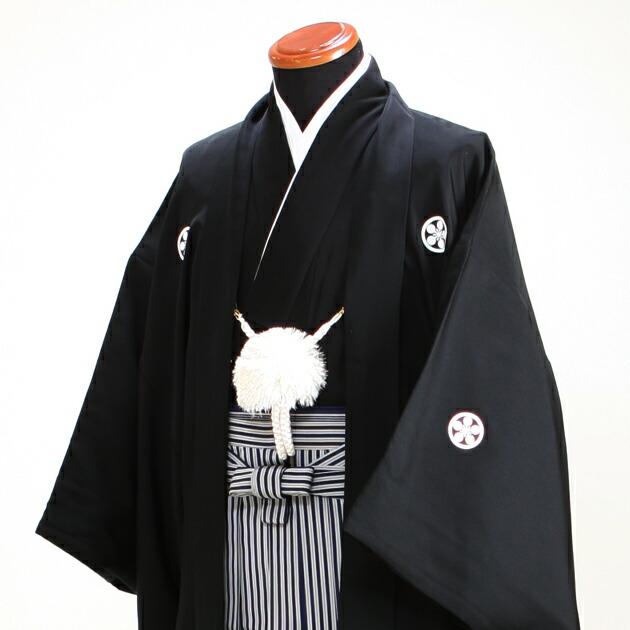 ジュニア 黒紋付袴レンタル【小】BDEF〔145-154cm前後対応〕
