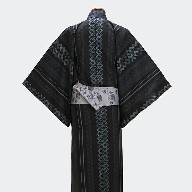 【浴衣 メンズ レンタル】ゆかたレンタル 3点セット☆浴衣・帯・下駄☆nt-my106 黒グレー/吉原つなぎ