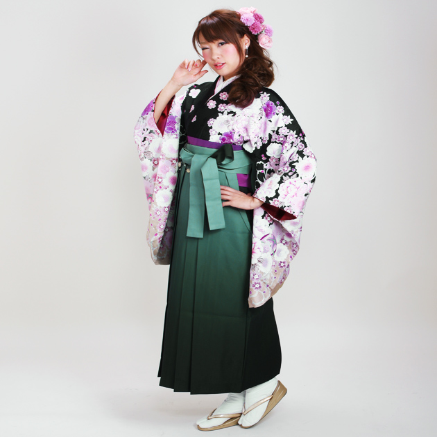 卒業式 袴 レンタル 黒色 黒まり 牡丹 花柄 桜 身長〜170cm,7号〜13号 NT-295