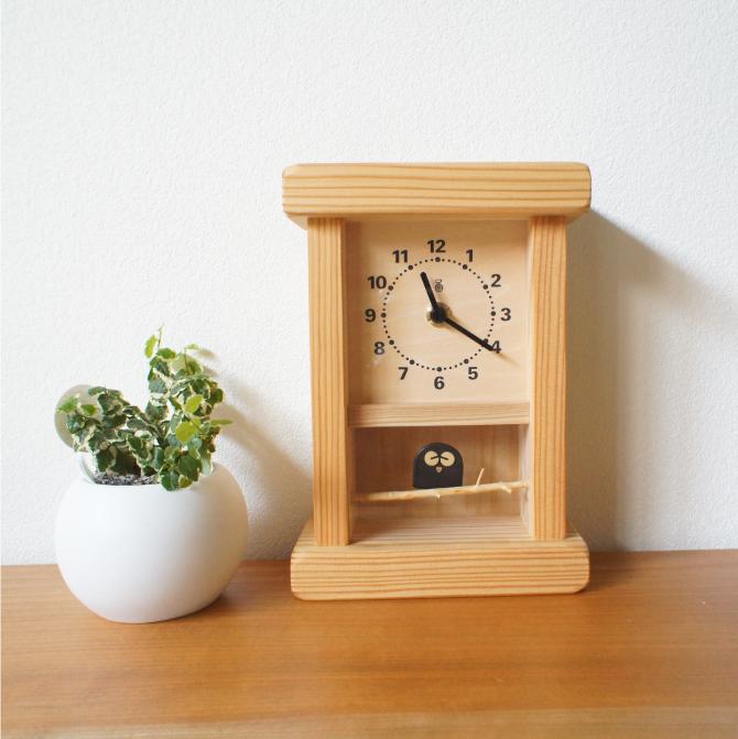 枝のフクロウ時計