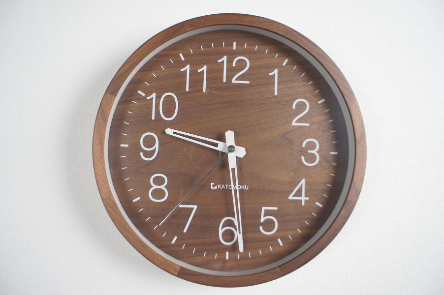 muku round wall clock2 walnut 電波時計