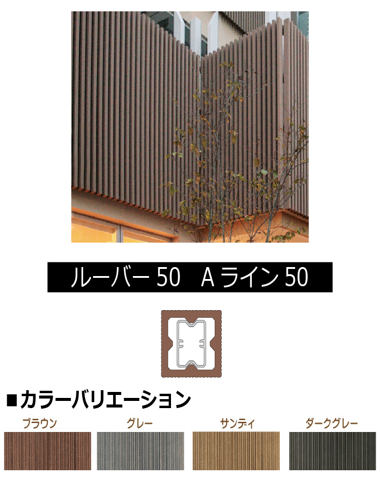 ルーバー50 Aライン 50 L= 〜1000