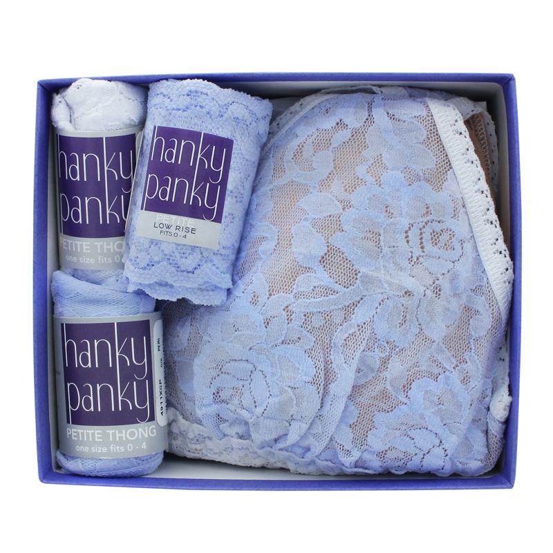 3パック ロー ライズ タンガ ウィズ カラープレイ パッド ブラジャー イン ボックス (ペリウィンクル / ホワイト) (オンラインショップ 限定商品)