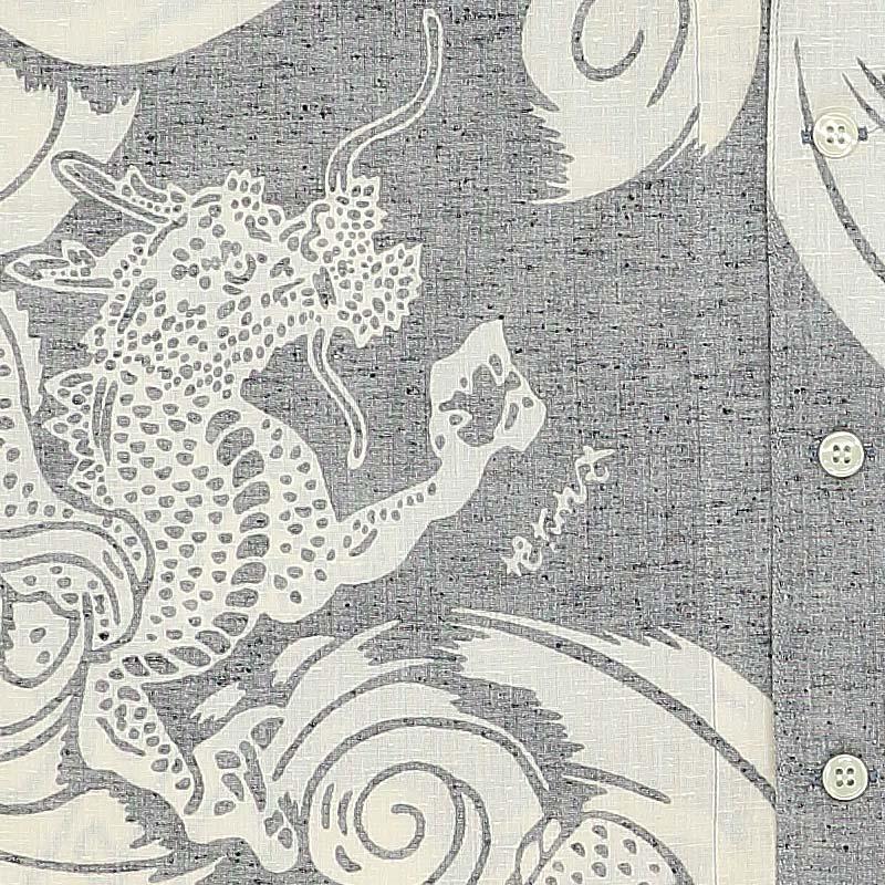 【祭り用品 本染め鯉口シャツ】渦雲に龍(うずくもにりゅう)グレー紬