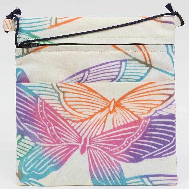 【祭り用品|本染め祭ポシェット】蝶の柄(ちょうのがら)レインボー