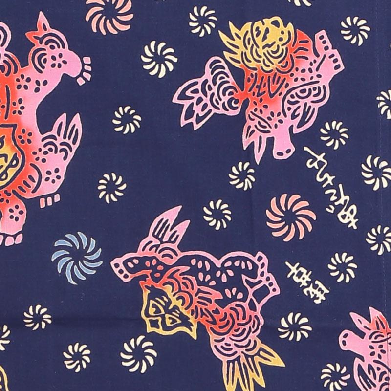 【祭り用品 本染め柄物鯉口シャツ】唐獅子と獅子毛(からじしとししげ)紺 特岡=浴衣地