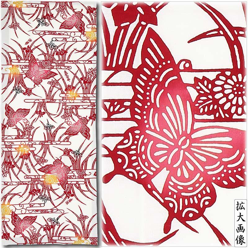 切り売り反物【蝶と菖蒲|ちょうとしょうぶ】赤|特岡(浴衣地)●注染染め(白地差分)
