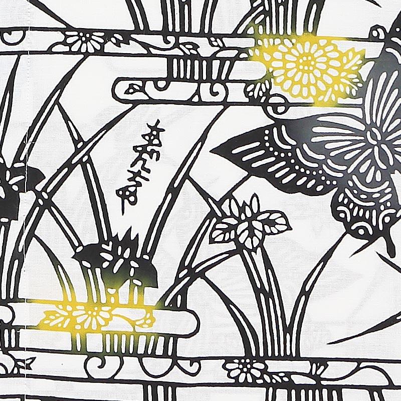 【祭り用品 本染め柄物鯉口シャツ】蝶と菖蒲(ちょうとしょうぶ)黒 特岡=平織り
