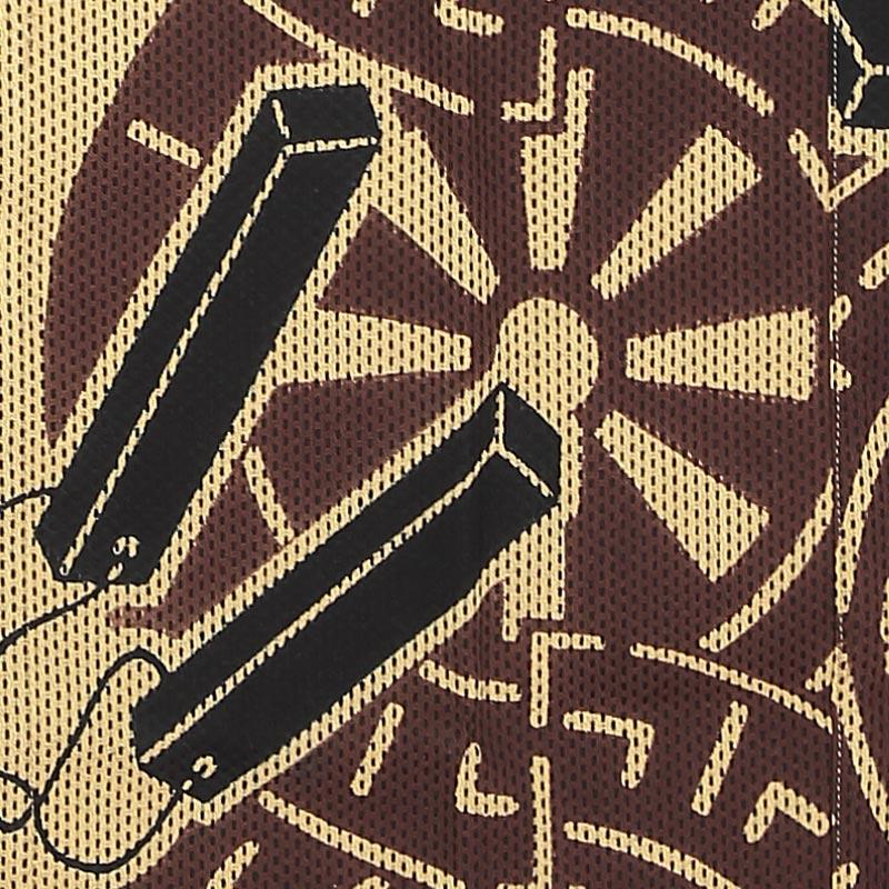 【祭り用品|本染め柄物鯉口シャツ】源氏車に拍子木(げんじぐるまにひょうしぎ)刺子・濃いベージュ
