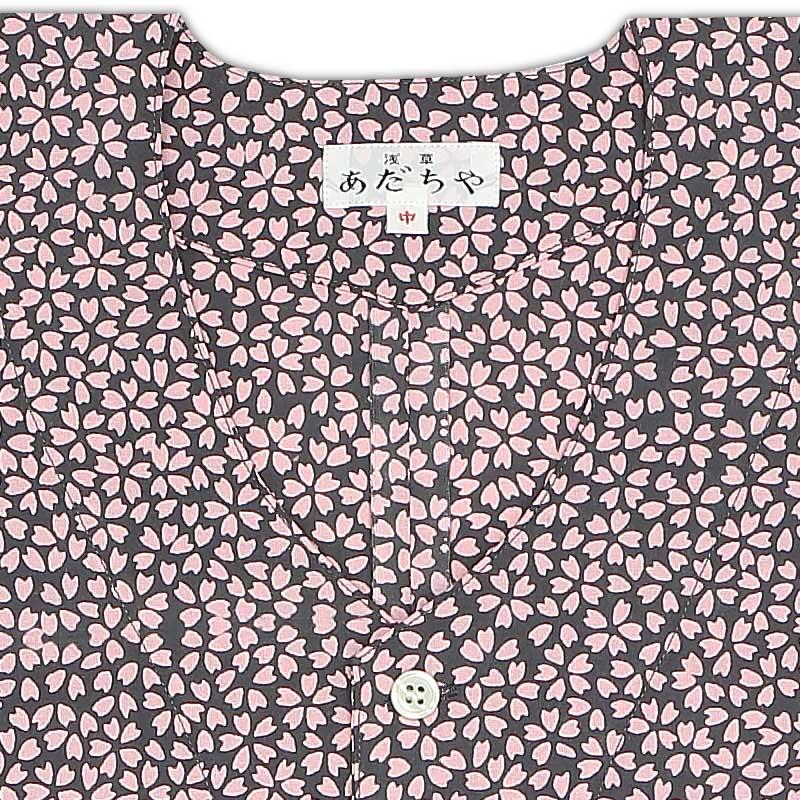 【祭り用品|本染め柄物鯉口シャツ】小桜(こざくら)グレー|特岡=平織り