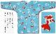 【祭り用品|本染め柄物鯉口シャツ】金魚と渦(きんぎょとうず)細川・水色|特岡=浴衣地
