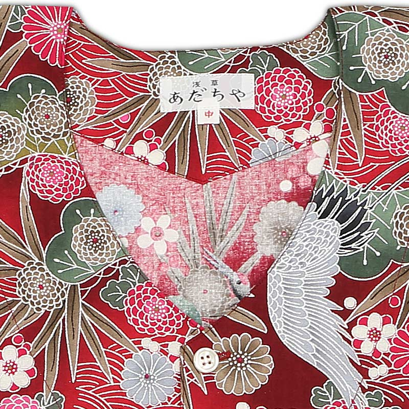 【令和2年新柄|銀粉プリント鯉口シャツ】鶴の柄(つるのがら)赤
