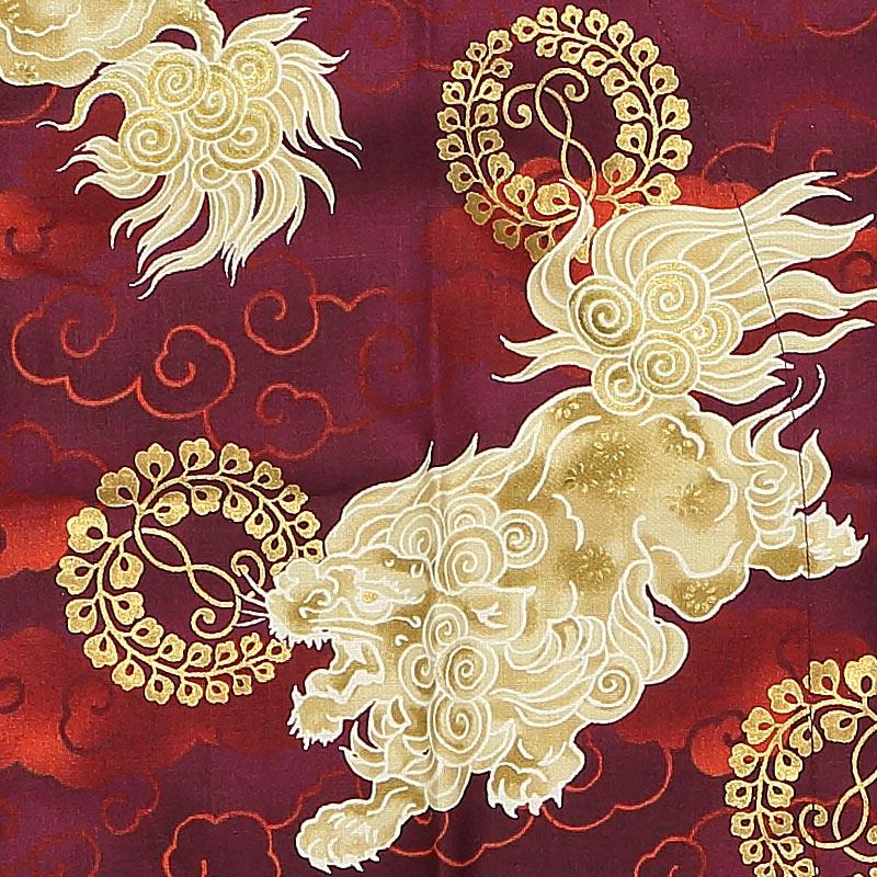 【令和2年新柄|金粉プリント鯉口シャツ】獅子と雲(ししとくも)赤