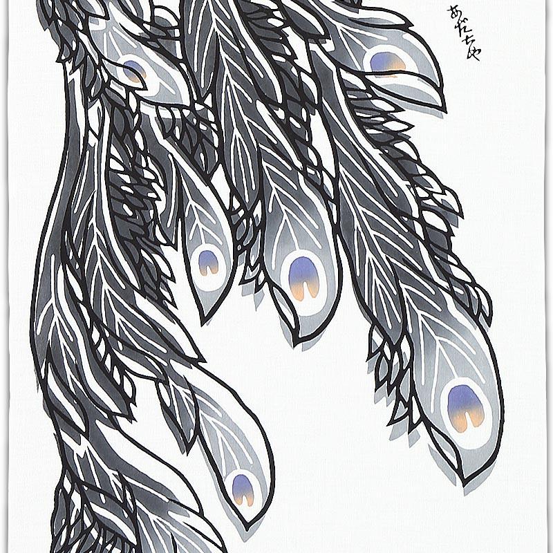 【祭り用品|鉢巻】注染本染め手拭(手ぬぐい)鳳凰(ほうおう)細川染め・黒|特岡=平織り
