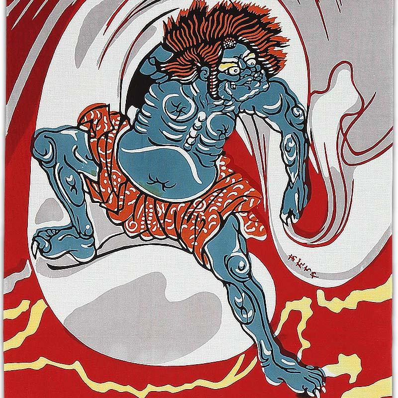 【祭り用品|鉢巻】注染本染め手拭(手ぬぐい)風神雷神(ふうじんらいじん)細川染め・赤|特岡