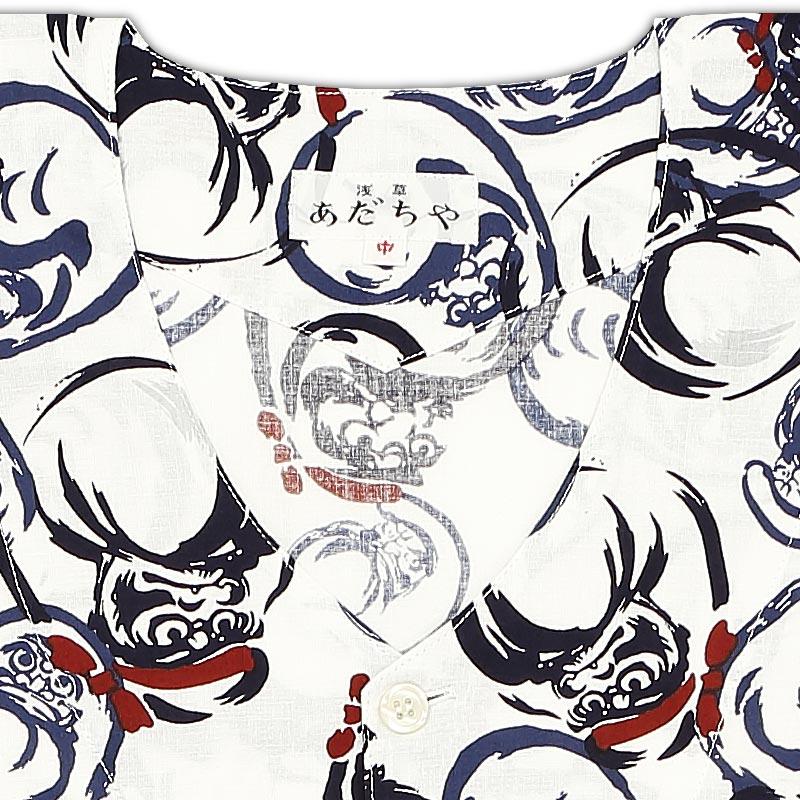 【祭用品|プリント柄鯉口シャツ】達磨(だるま)白