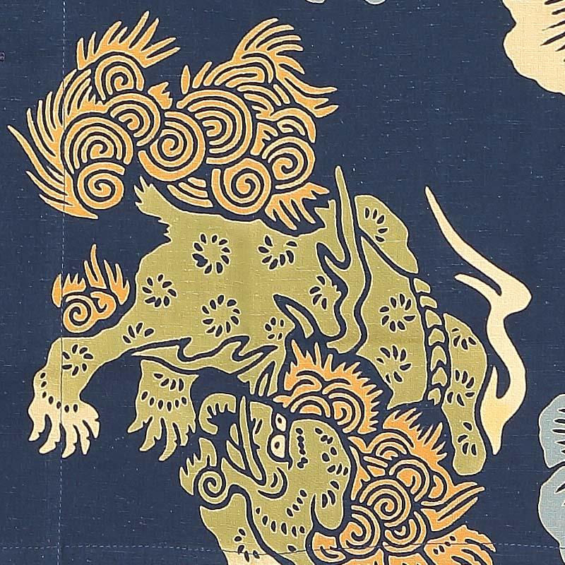 【祭り用品|本染め柄物鯉口シャツ】唐獅子牡丹(からじしぼたん)紺紬