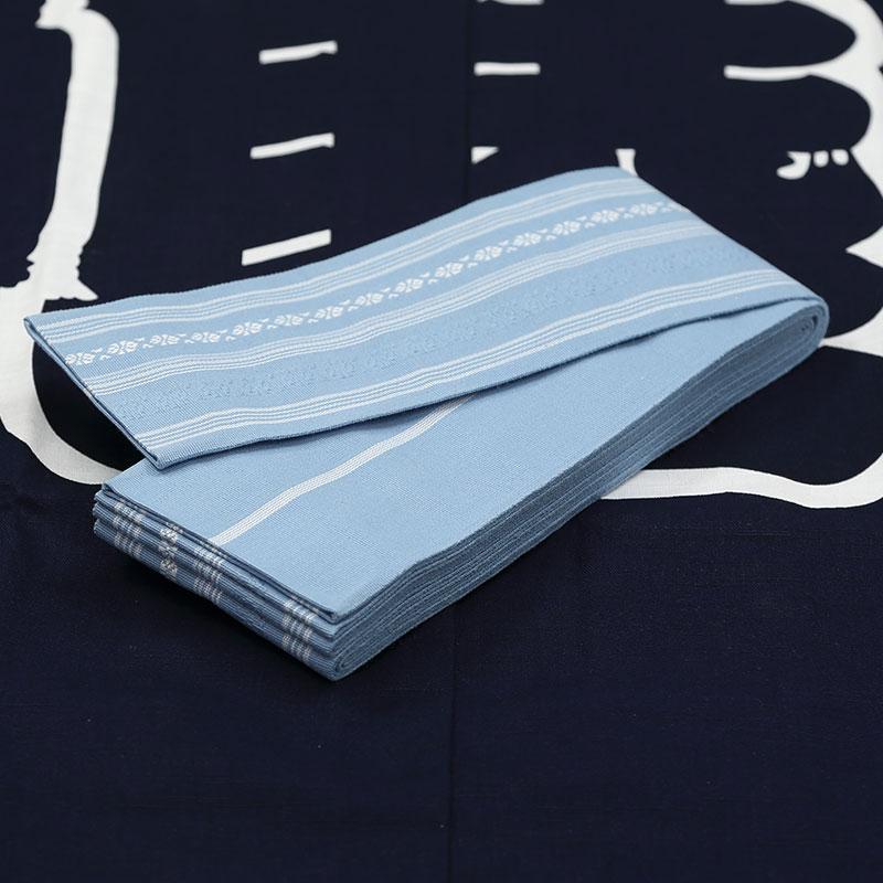 【織角帯|綿献上】献印-11■水色の献上柄■角帯の結び方ガイド付き