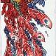 【祭り用品|締込み・巻帯】鳳凰(ほうおう)注染細川染め(赤)特岡=浴衣地