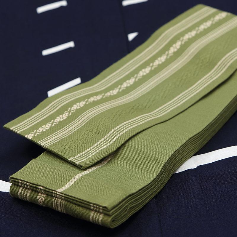 【織角帯|綿献上】献印-14■若草色の献上柄■角帯の結び方ガイド付き