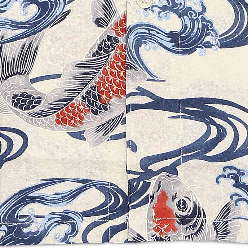 【祭用品 プリント柄鯉口シャツ】鯉の柄(こいのがら)■縮み調生地(綿100%)