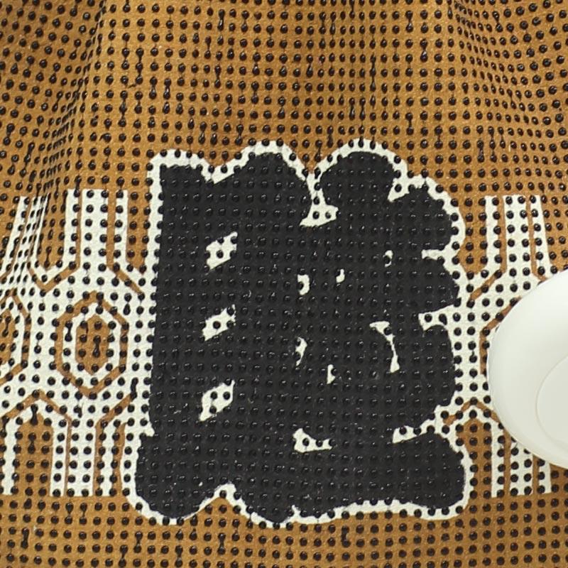 【祭り用品 腰下巾着】印傳(印伝 いんでん)No013「睦(むつみ)金茶・黒文字/漆付」