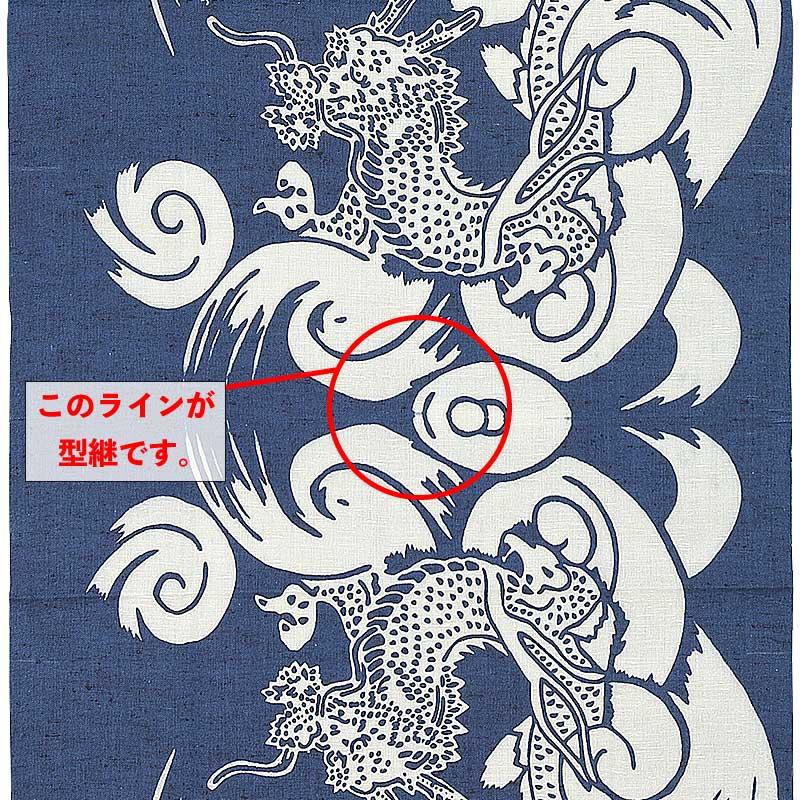切り売り反物【渦雲に龍|うずくもにりゅう】鉄紺紬|注染本染め