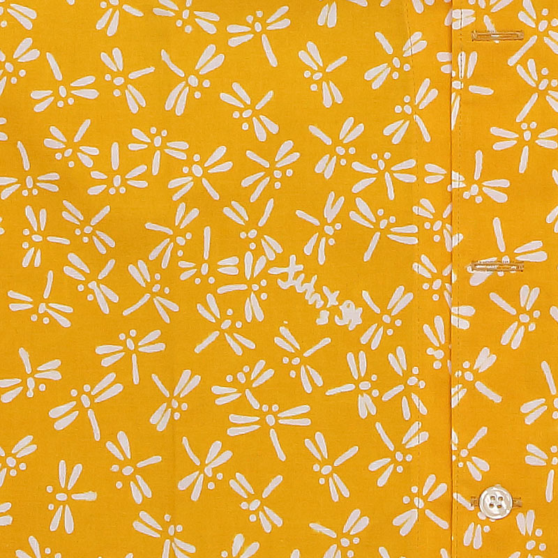 【祭り用品|本染め柄物鯉口シャツ】とんぼ(黄色)特岡=平織り
