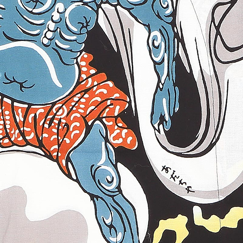 【祭り用品|本染め柄物鯉口シャツ】風神雷神(ふうじんらいじん)細川染め・黒|特岡=平織り