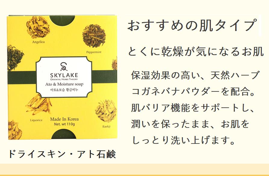 乾燥対策にドライスキン・アト保湿石鹸 210円off 通常価格 1200円(税別)今ならお試し価格 990円(税別)