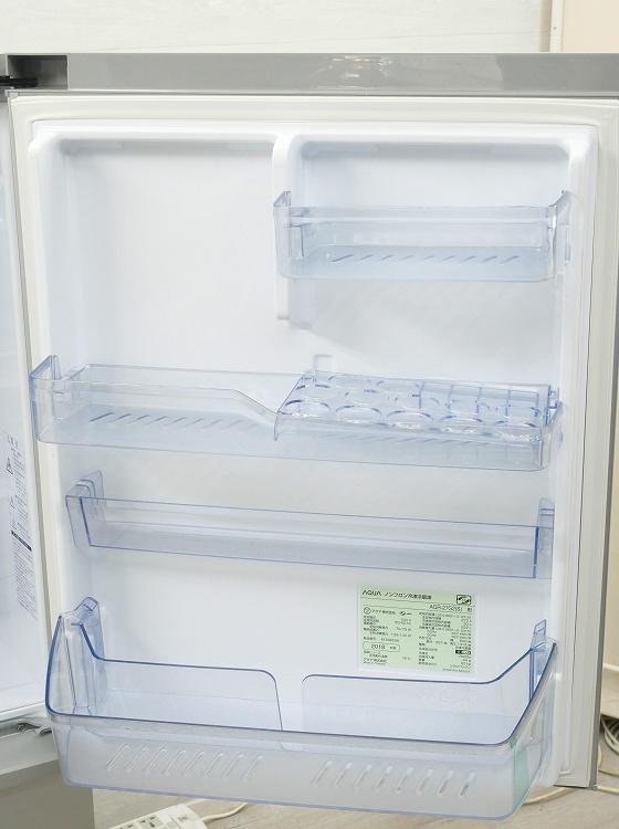アクア製3ドア/2018年式/272L/ノンフロン冷蔵冷凍庫/AQR-27G2(S)●