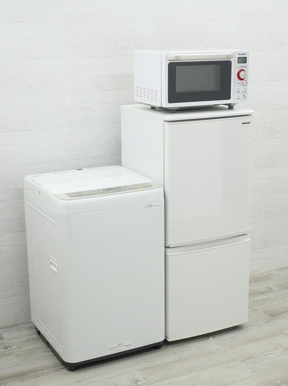 シャープ製,Panasonic製/19年,19年/137L,5kg/中古家電3点セット