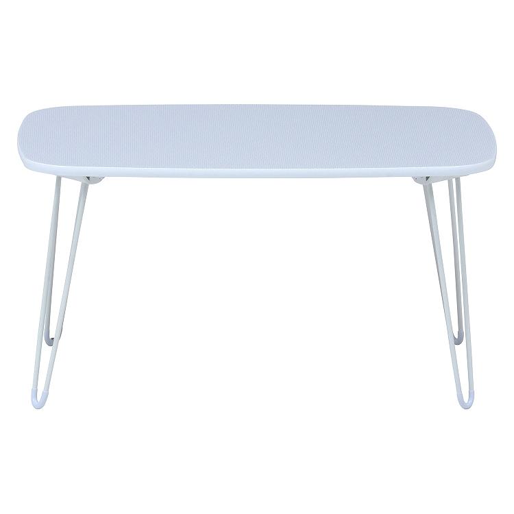 【新品】不二貿易/ドット柄ローテーブル-ホワイト