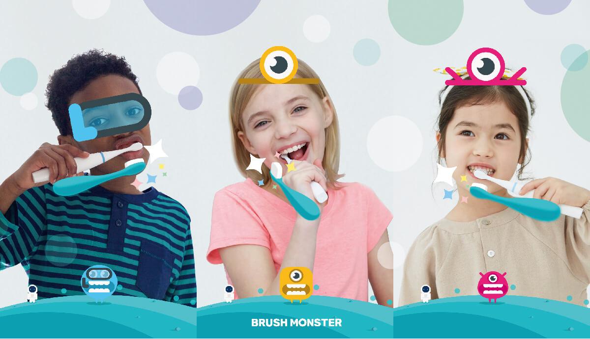 BRUSH MONSTER ブラッシュモンスター 子供用スマートトラッキング電動歯ブラシ AR(拡張現実)搭載 歯育アプリ連動 BMT100