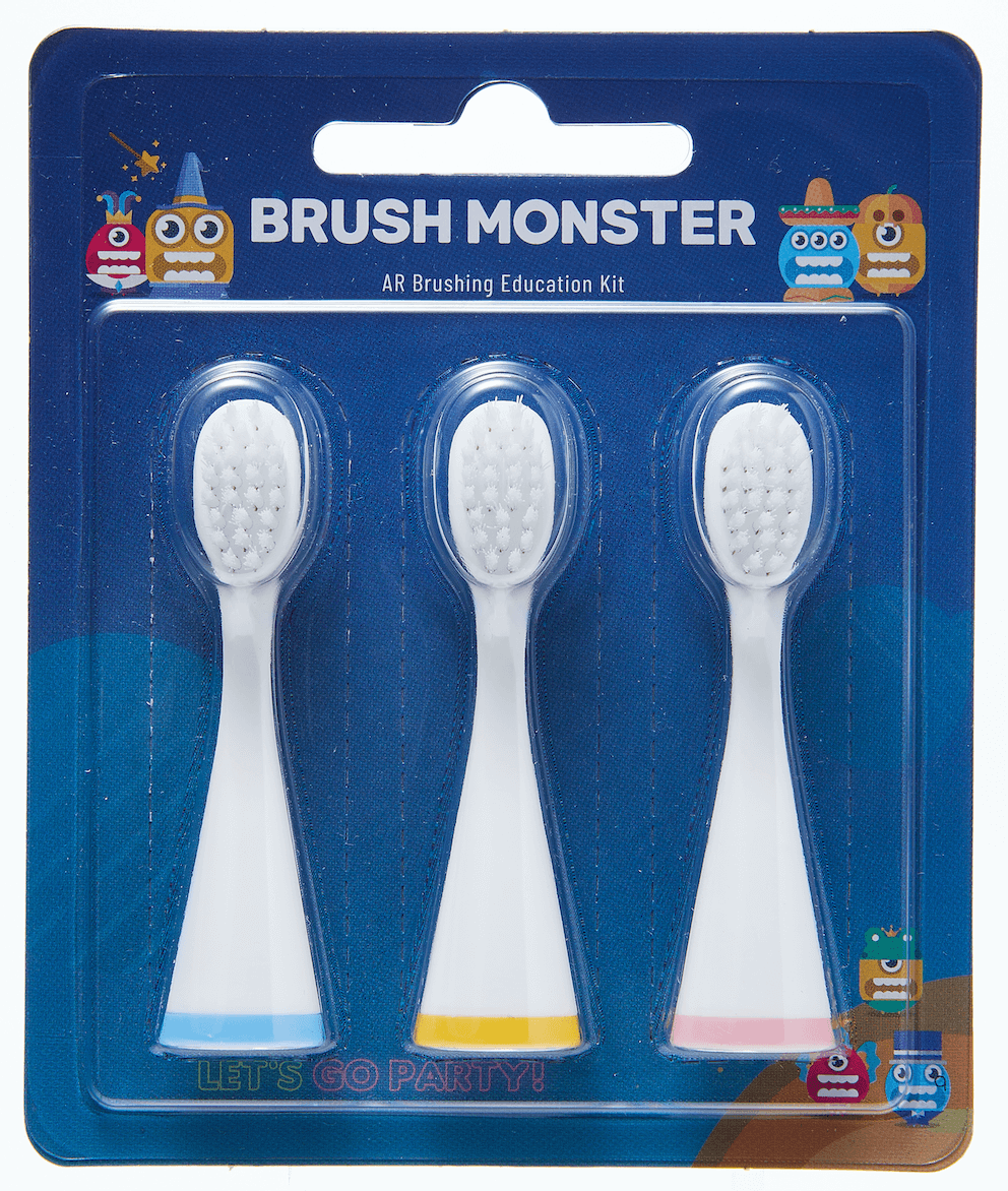 【正規品】BRUSH MONSTERキッズ 子供用スマートトラッキング電動歯ブラシ専用替えブラシ3本組  BMT100-RB