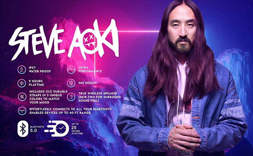 SVN Sound by Steve Aoki 完全防水コンパクトワイヤレススピーカー Future360