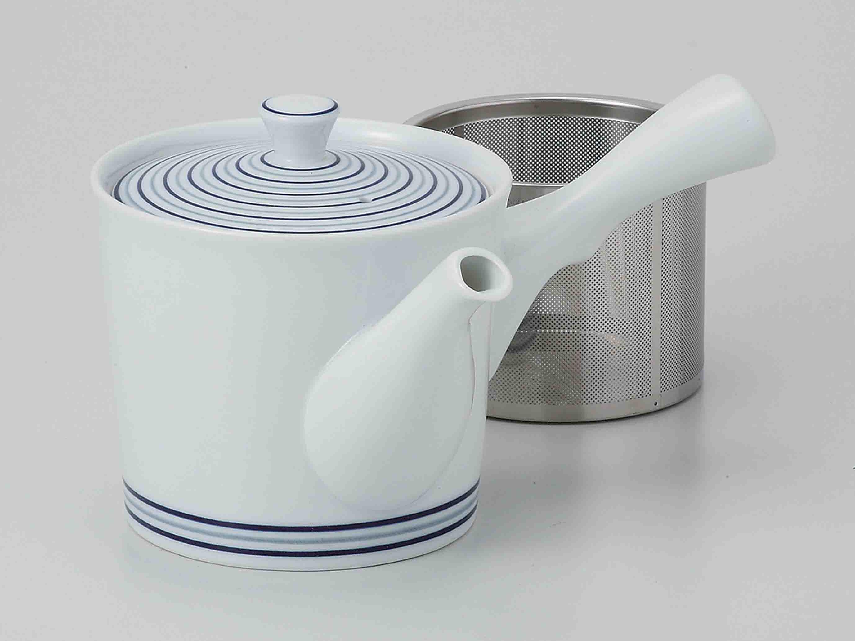 青の十草柄 仕合わせお茶セット(茶筒付)