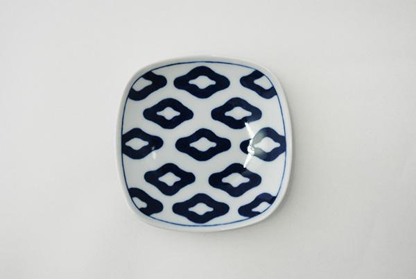 青藍紋様 角小皿揃(5点セット)
