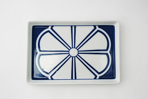青藍紋様 長角皿(4点セット)