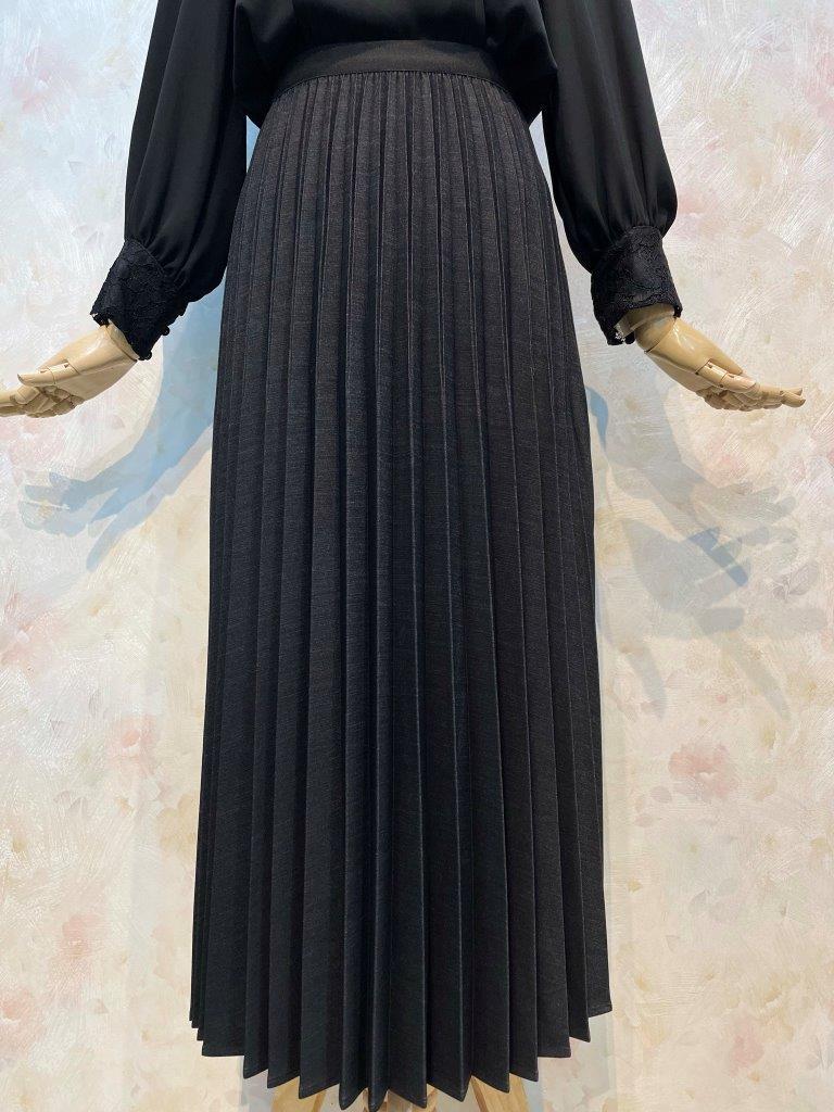 エレガンスシャンブレー アコーディオンプリーツスカート