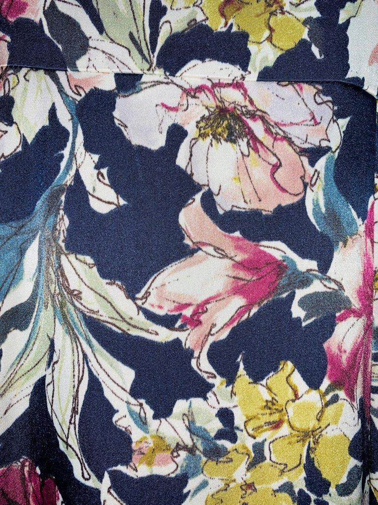 マイクロサテン花柄 ワンピース