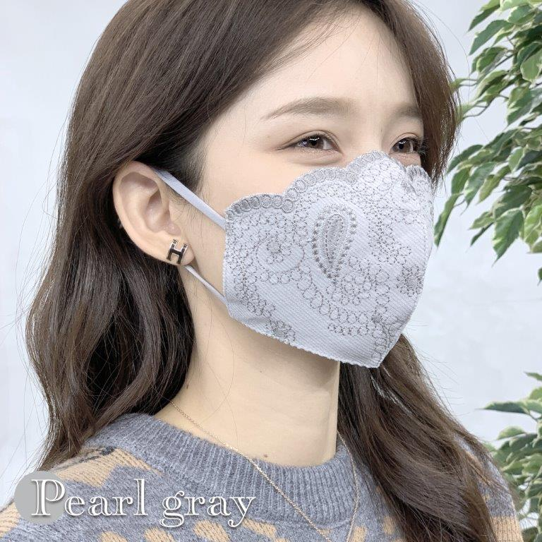 [コーデュロイポーチ付き]シルク100%・コーデュロイ刺しゅうマスク♪洗えるシルクマスク (ペイズリー柄)