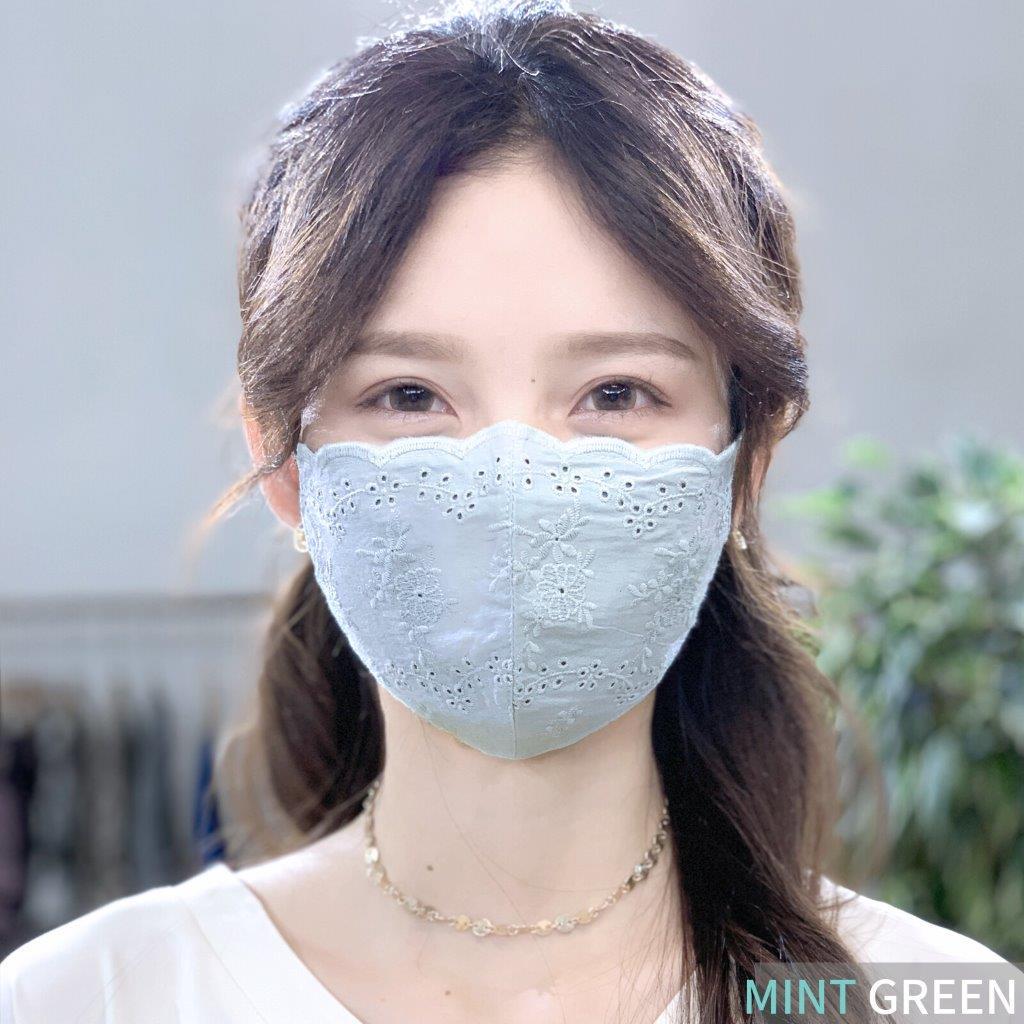 [マスクケース付き]シルク100%・コットンレースマスク♪洗えるシルクマスク(RC001)