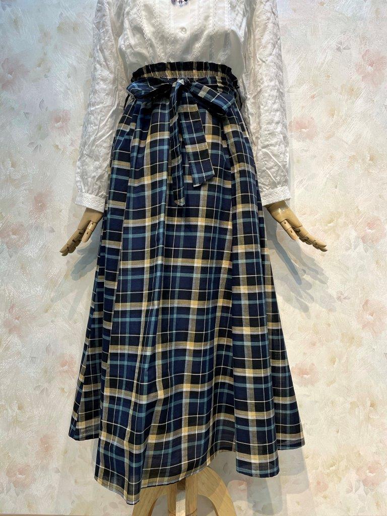 綿麻スラブチェック フレアースカート