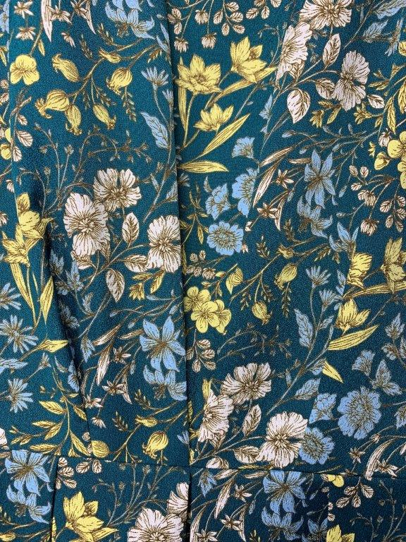 小花柄七分袖 デシンワンピース