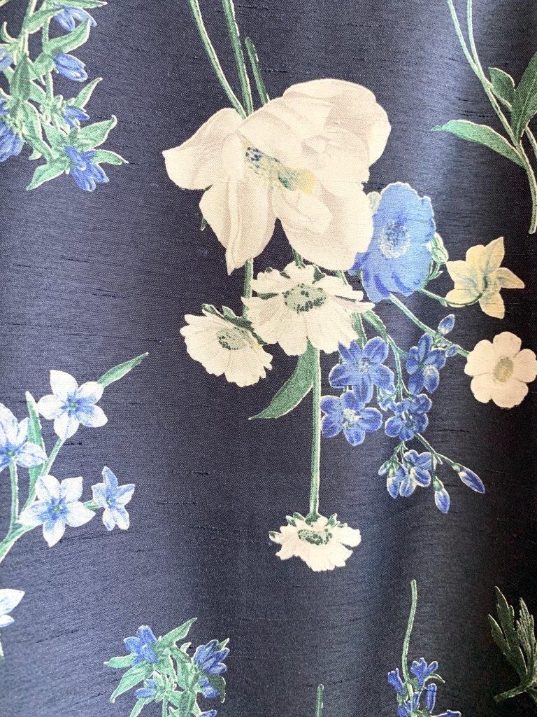 シャンタン花柄プリント ワンピース
