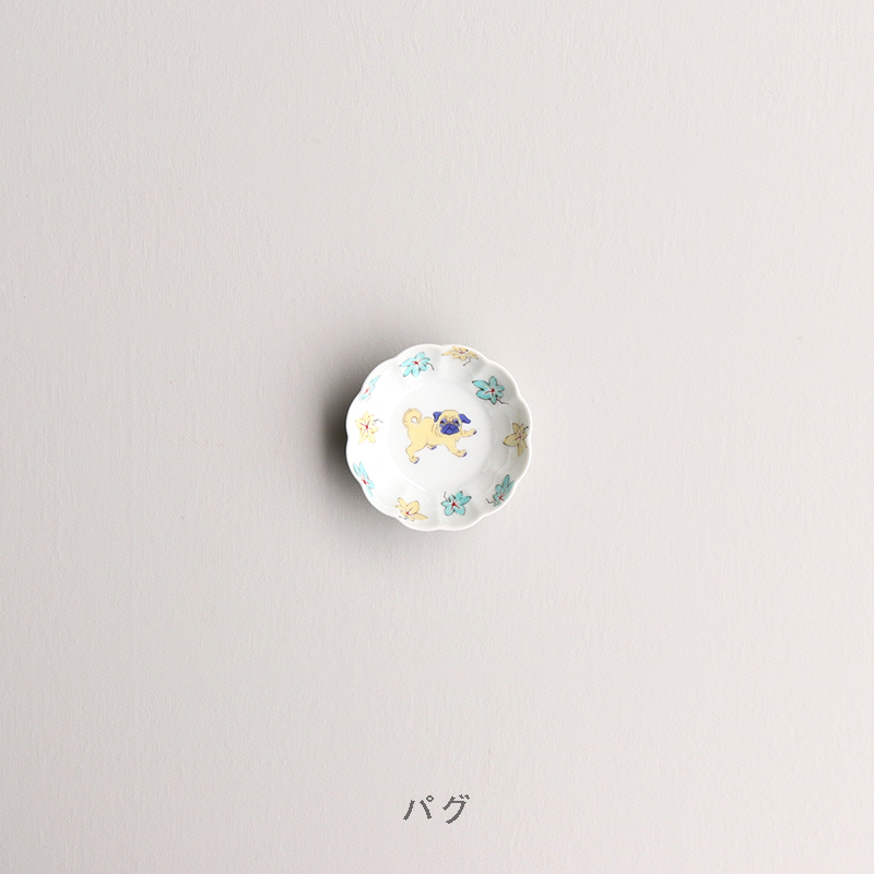 色絵 菊形鉢 小
