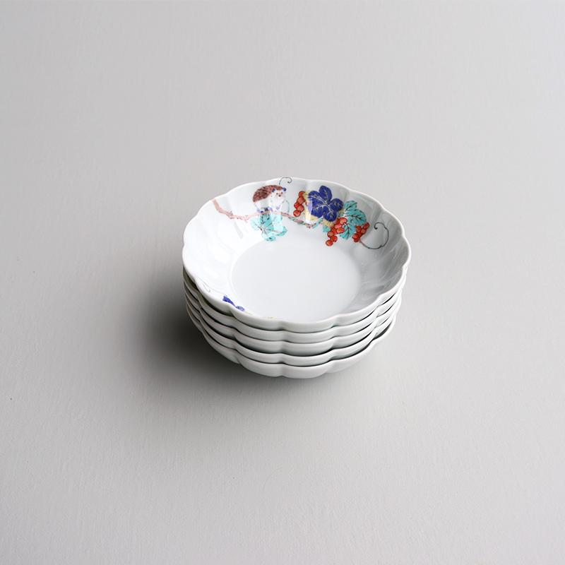 色絵 菊形鉢 中