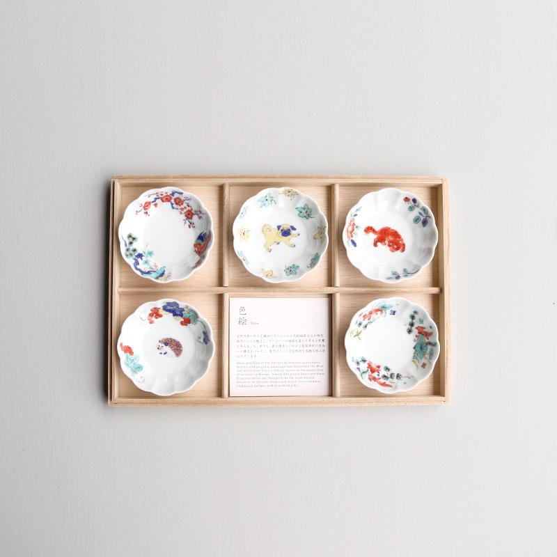 色絵 菊形鉢(小)5枚用/桐箱