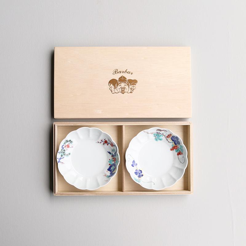 色絵 菊形鉢(中)2枚用/桐箱